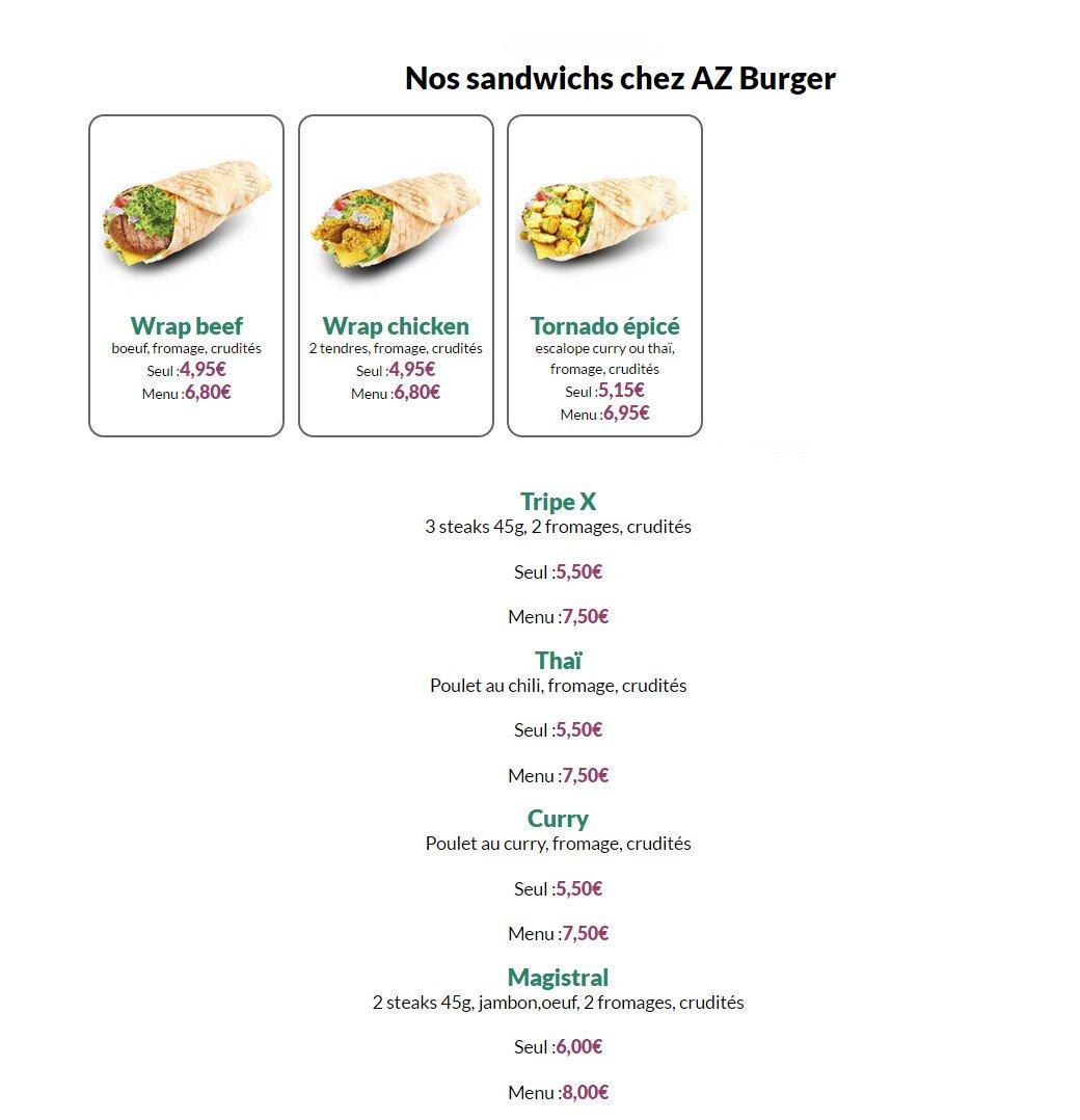 Az burger et chicken villefranche sur saone carte menu et photos - Buffalo grill villefranche sur saone ...