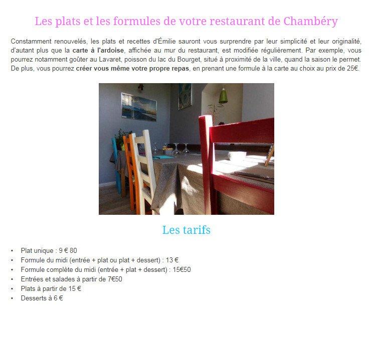 La Cuisine d'Emilie à Chambery, carte-menu et photos