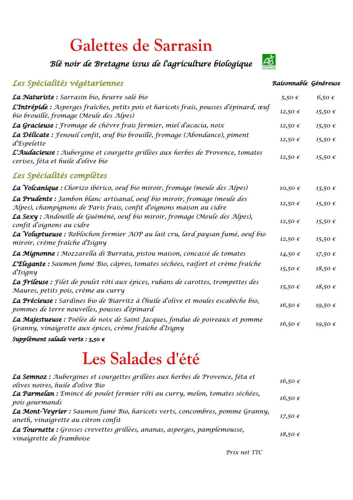 L 39 assiette rouge annecy carte menu et photos for Menu ete original