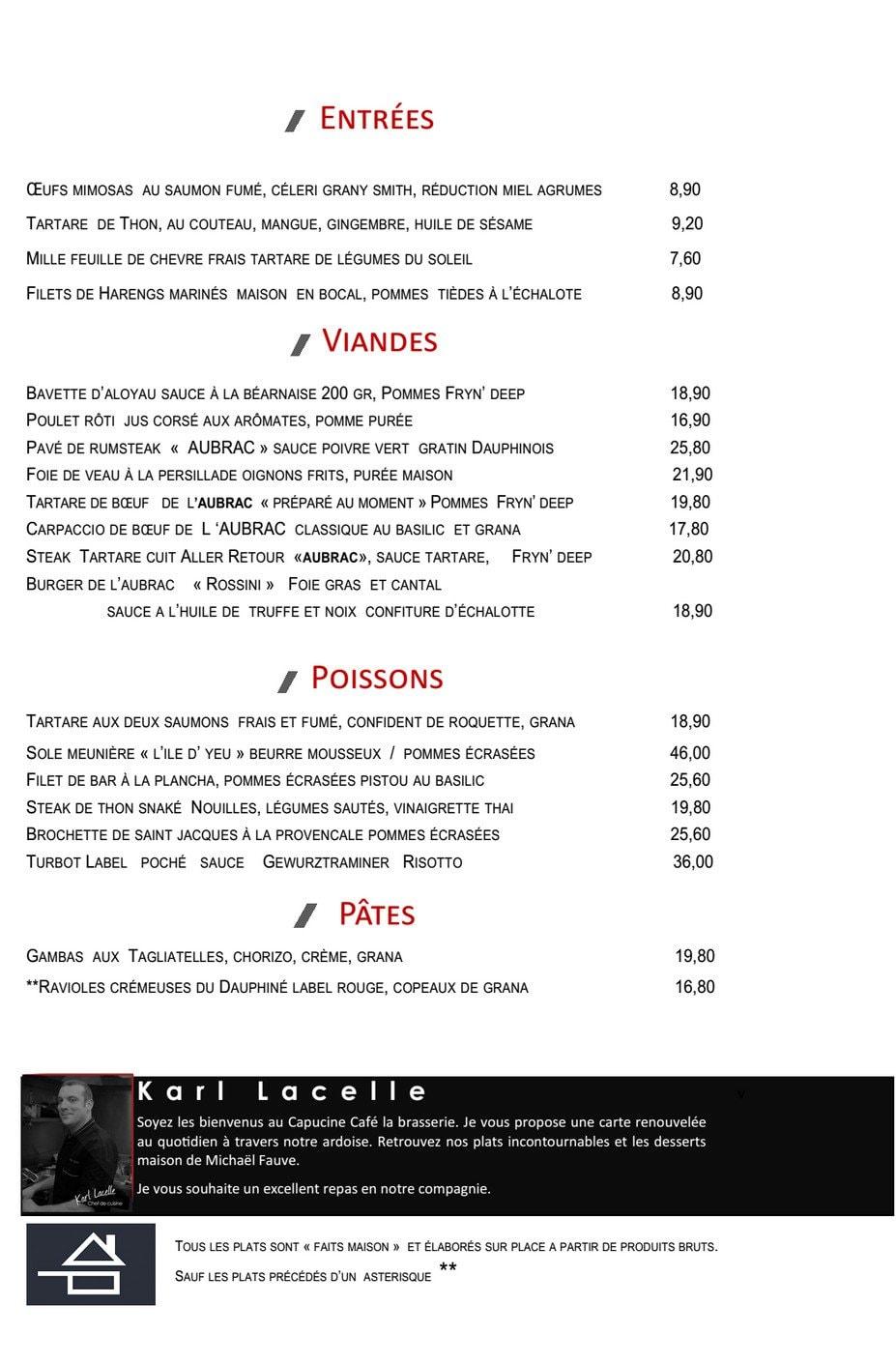 Capucine café à Paris 1, carte-menu et photos