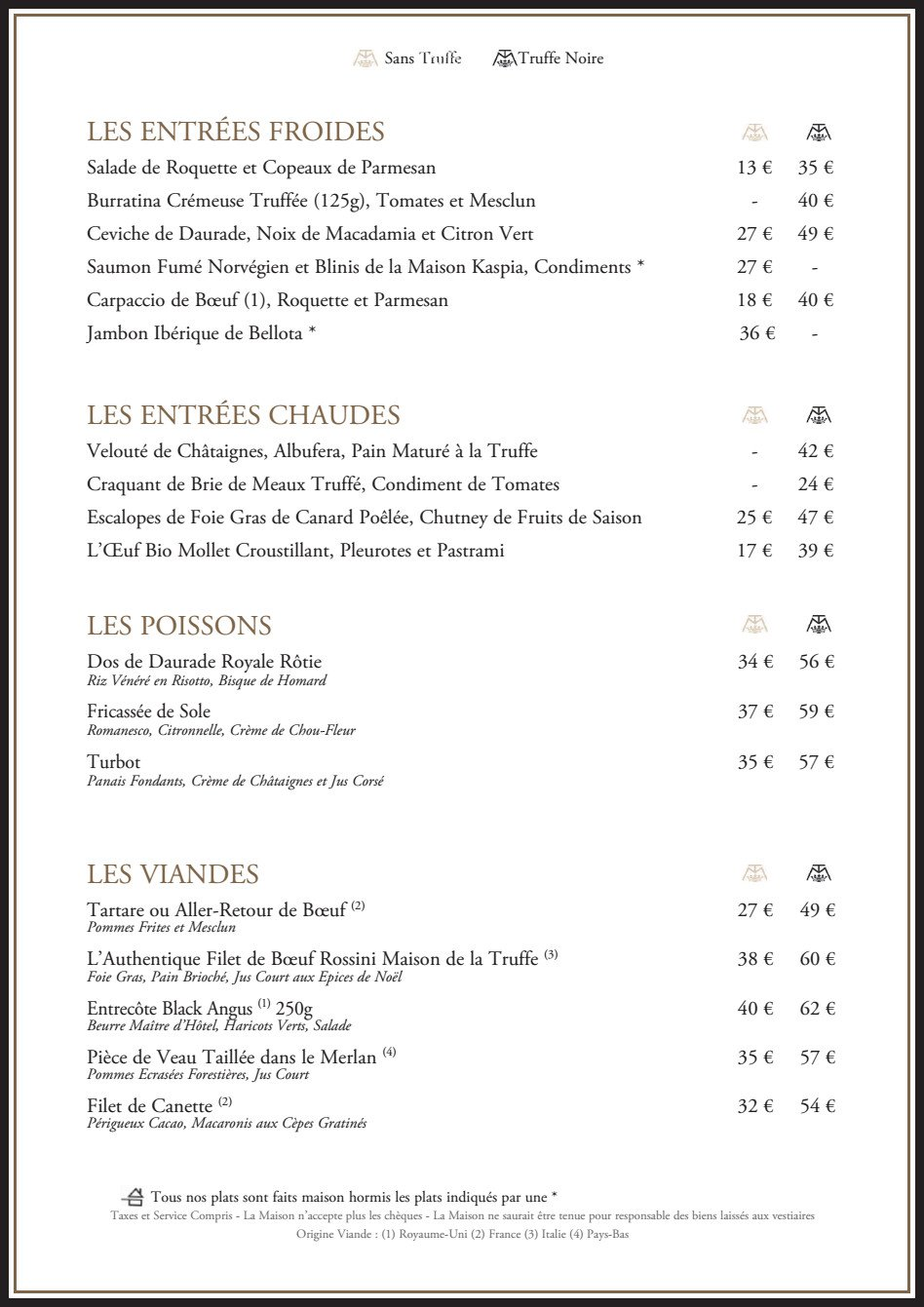 La maison de la truffe paris 8 carte menu et photos - La maison de la truffe ...