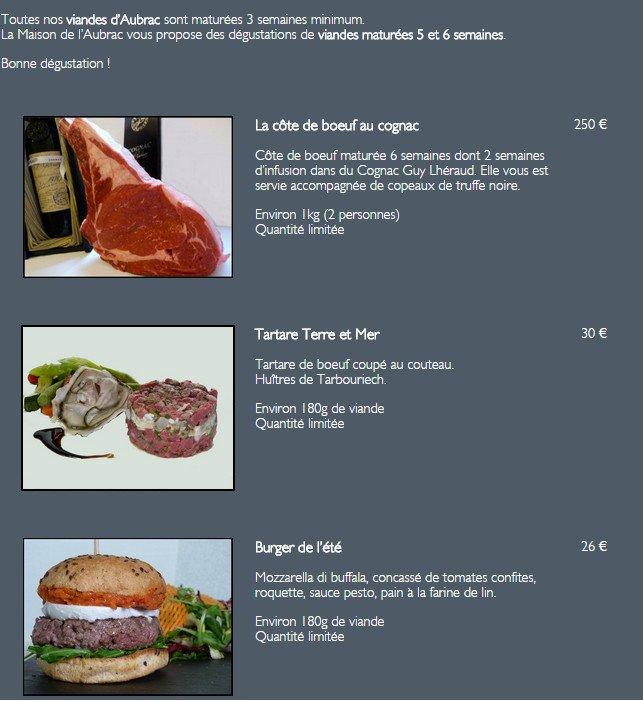 Maison de l 39 aubrac paris 8 carte menu et photos for Menu ete original