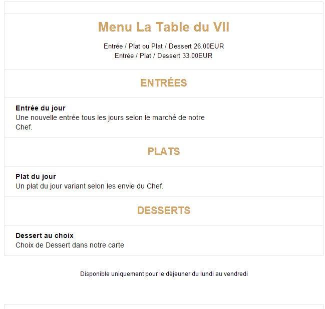 La table du vii paris 9 carte menu et photos for La table du 9