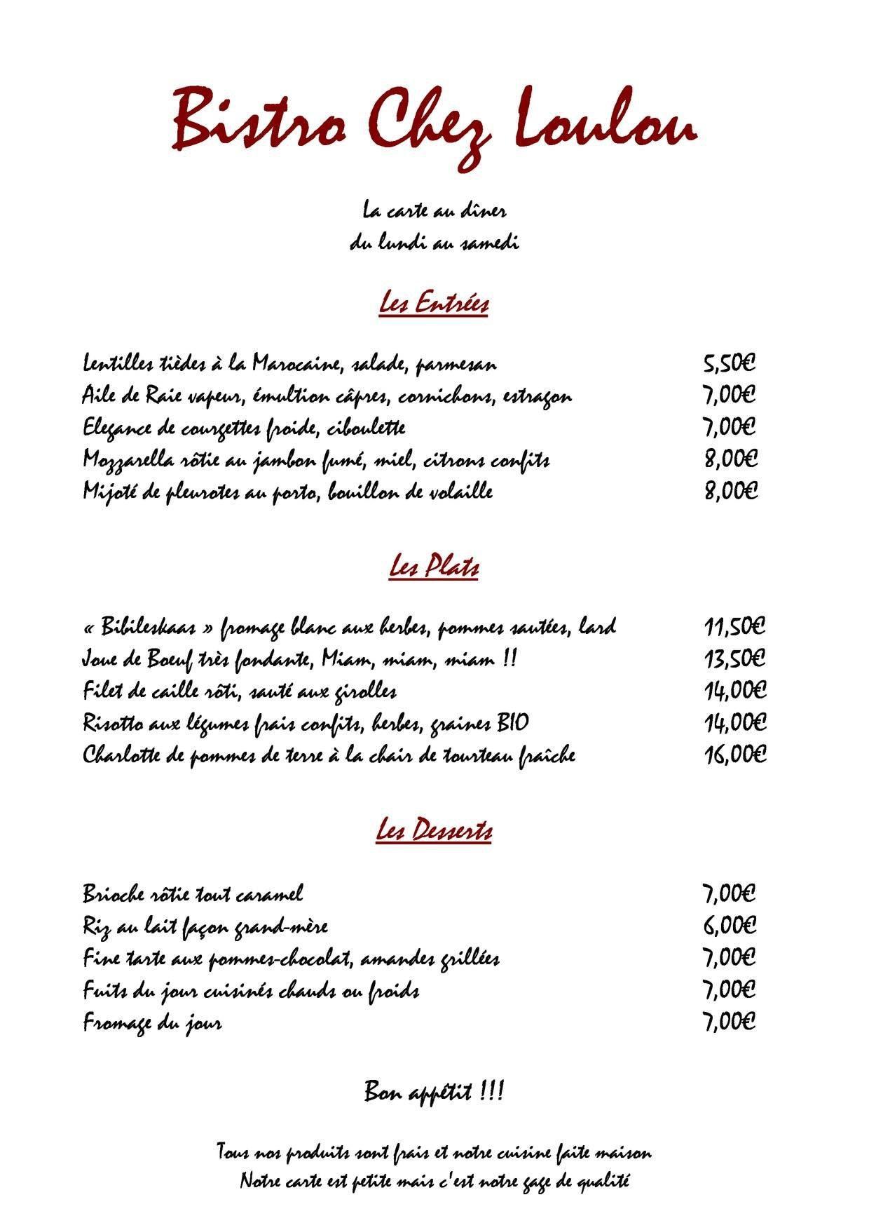Menu Restaurant Loulou