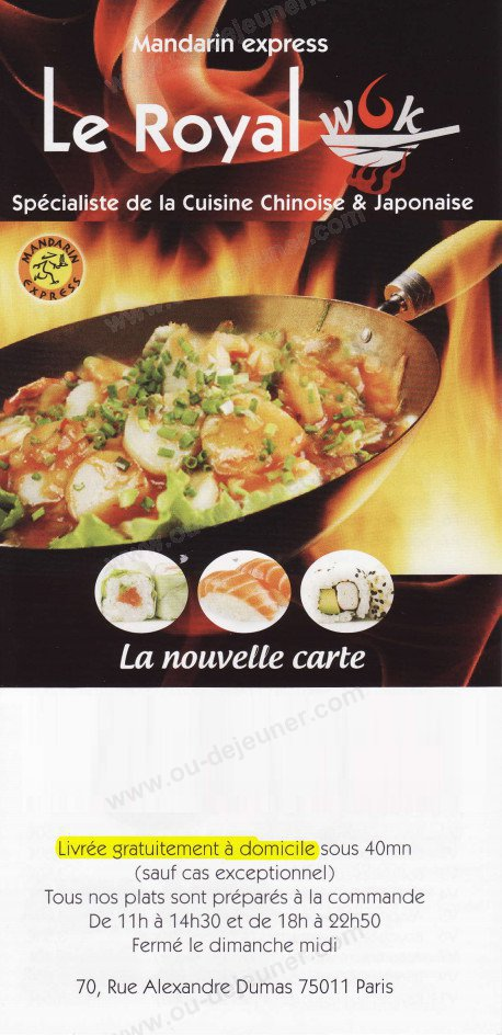 Le Royal Wok à Paris 11, carte-menu et photos