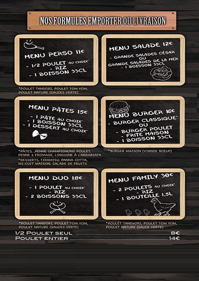 La maison du poulet paris 12 carte menu et photos - La maison du canape paris ...