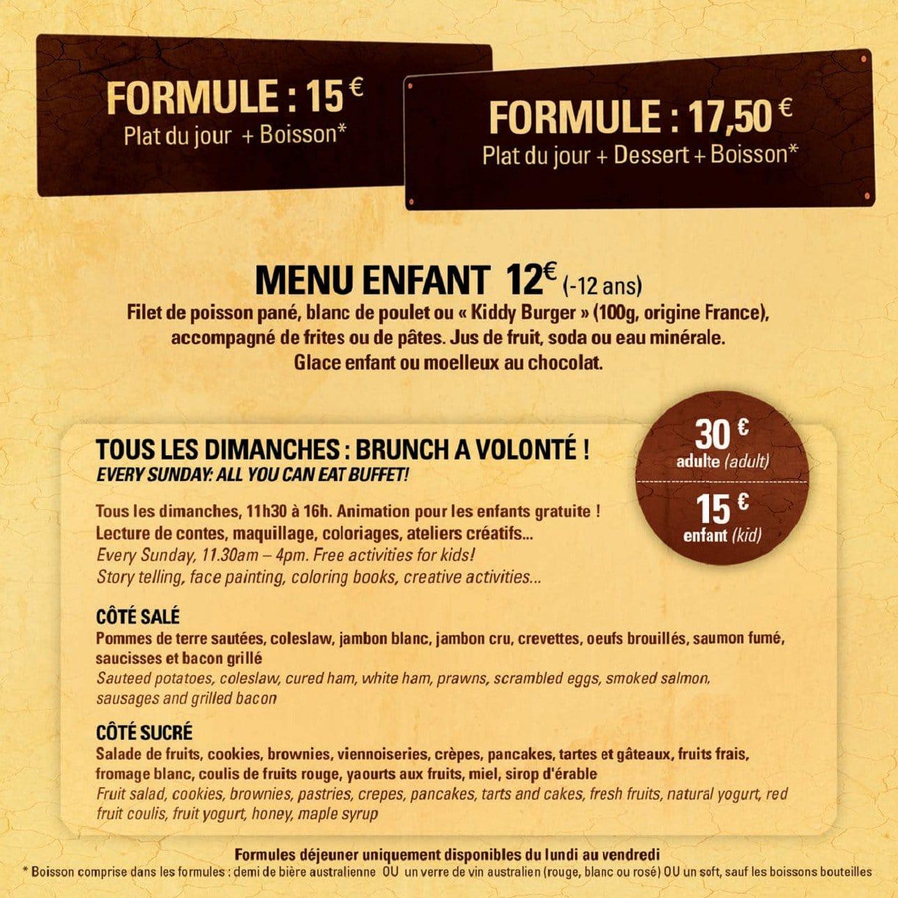 Cafe Oz Denfert Carte