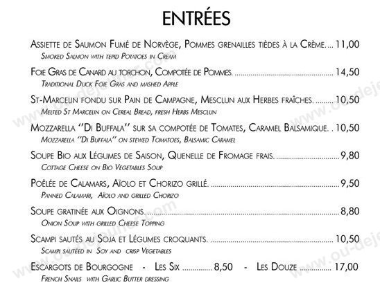 Cafe Lateral Paris Menu