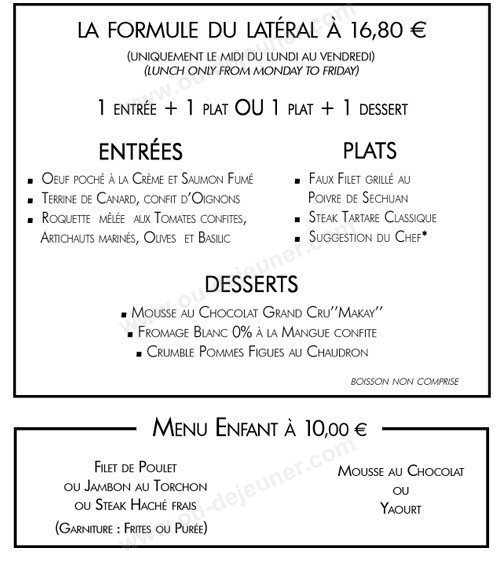 Cafe Lateral Paris Menu