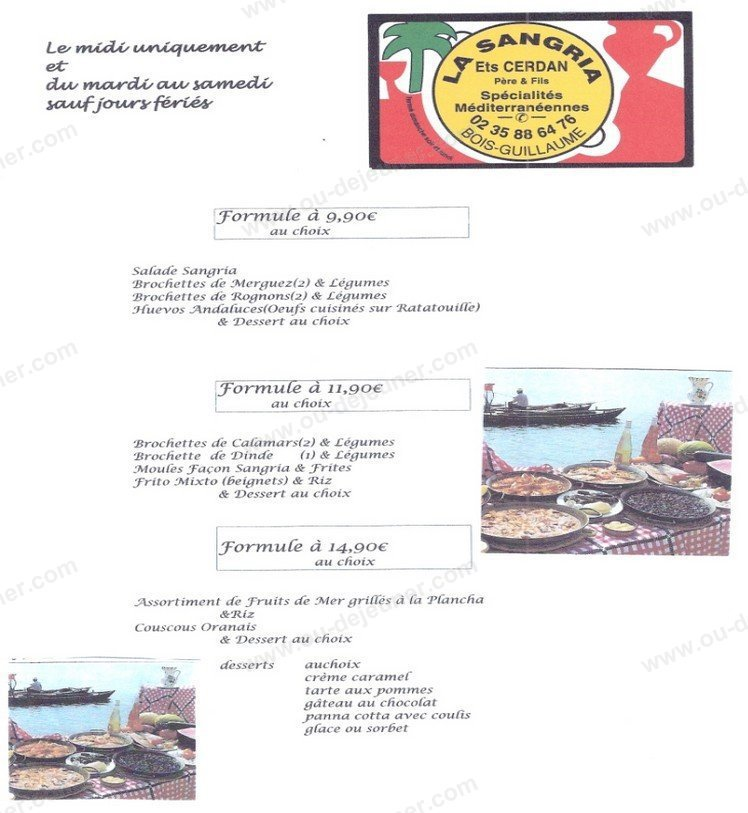La Sangriaà Bois Guillaume, carte menu et photos # Pizza Bois Guillaume