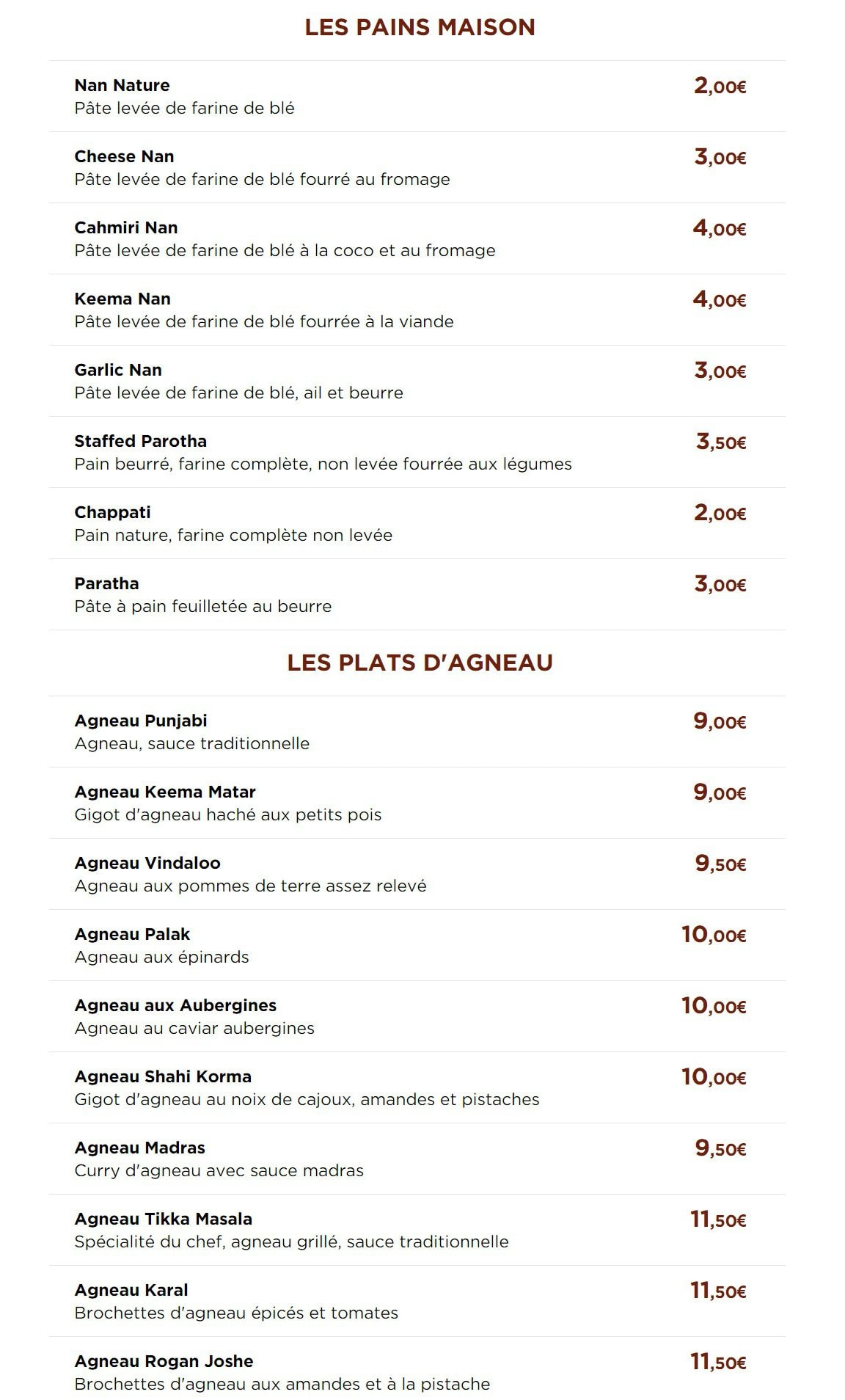 New Delhi Restaurant Le Havre Menu