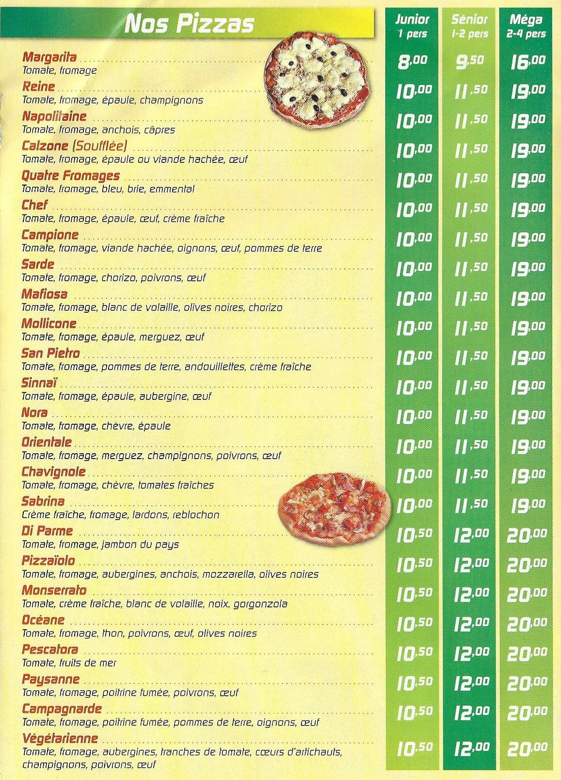 Franco pizza melun carte menu et photos for Menu ete original