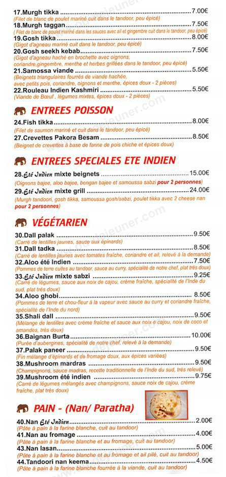L 39 t indien coignieres carte menu et photos for Menu ete original