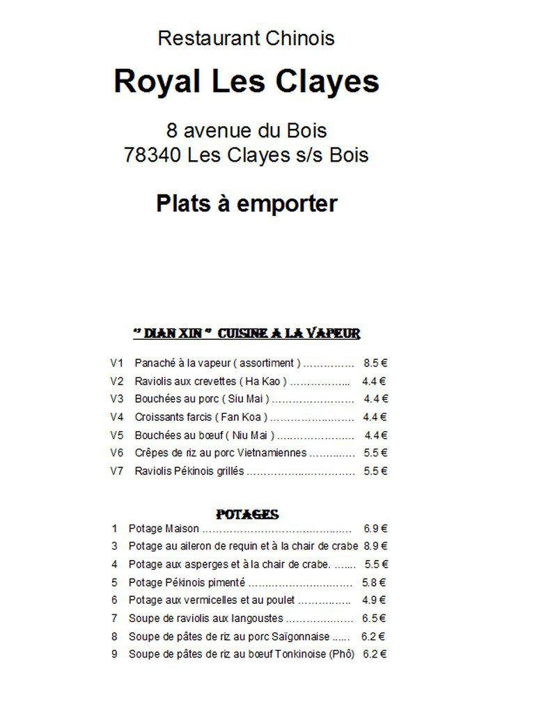royal les clayes les clayes sous bois carte et menu en ligne. Black Bedroom Furniture Sets. Home Design Ideas