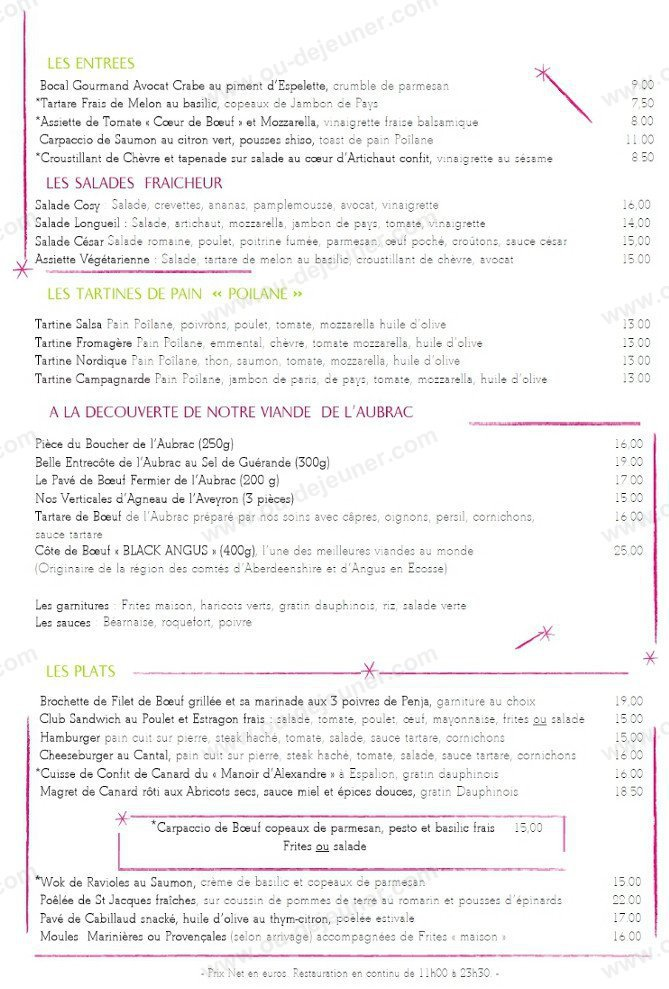 cosy 224 maisons laffitte carte menu et photos