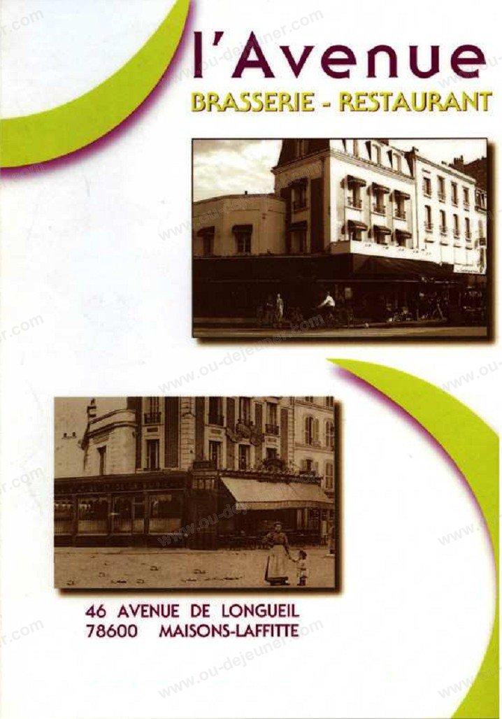 L'avenue à Maisons Laffitte, carte-menu et photos