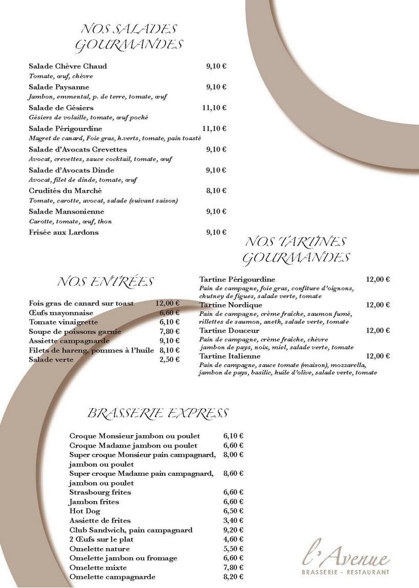 l avenue 224 maisons laffitte carte menu et photos
