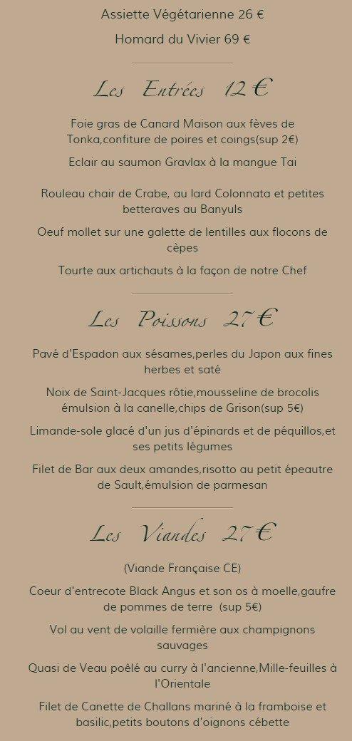 Restaurant Zebra Maisons Laffitte Menu
