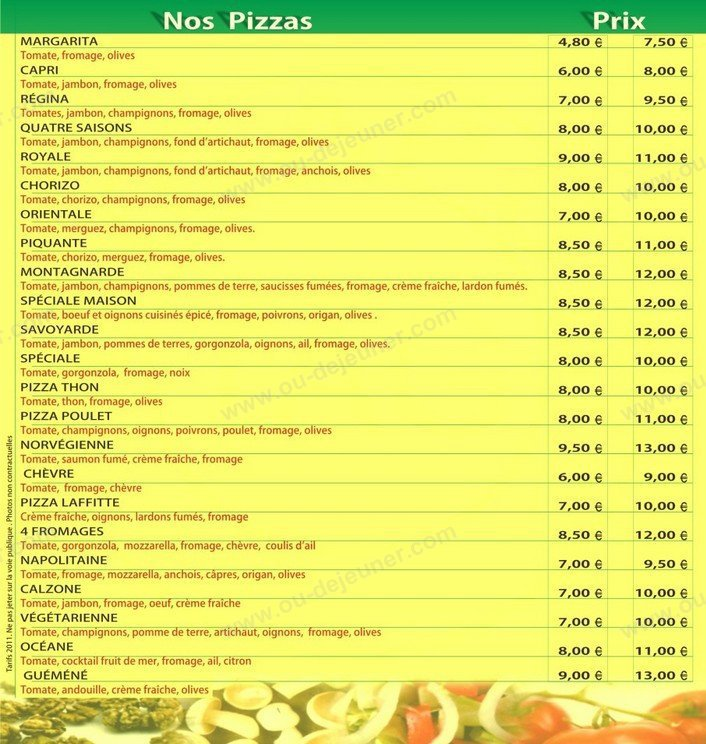 Top pizza maisons laffitte carte et menu en ligne - Le cosy maisons laffitte ...