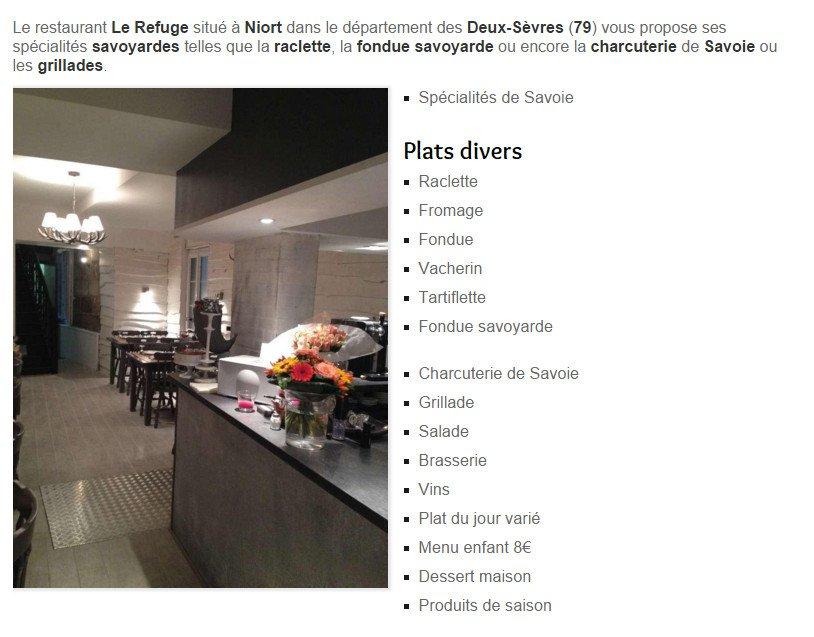 le refuge niort carte menu et photos. Black Bedroom Furniture Sets. Home Design Ideas