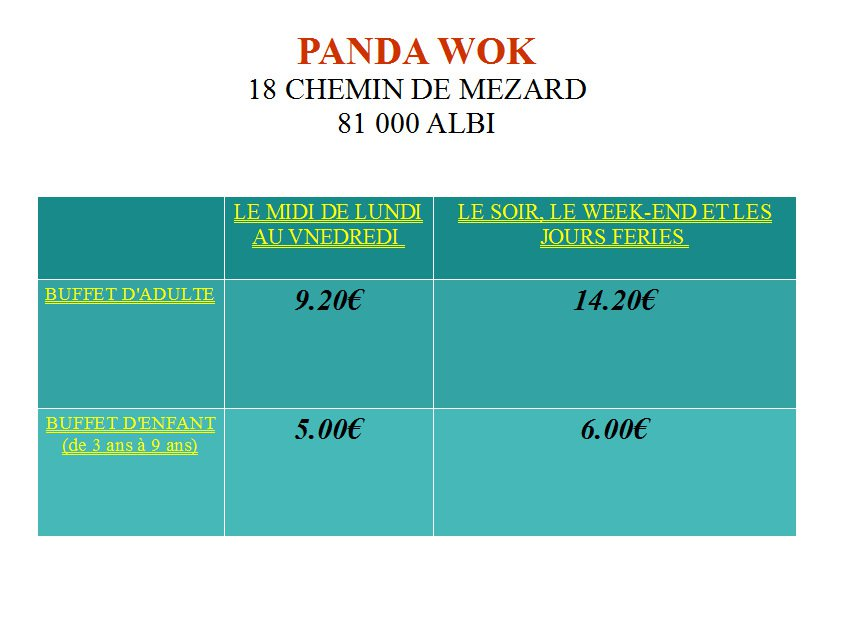 panda d or menu pdf