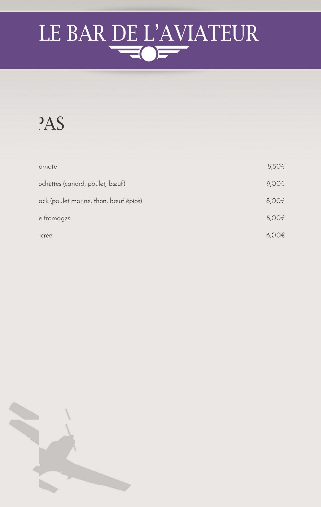 l 39 aviateur montauban carte menu et photos. Black Bedroom Furniture Sets. Home Design Ideas