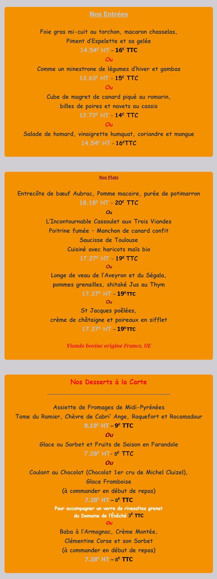 Occitanie Restauration Menu