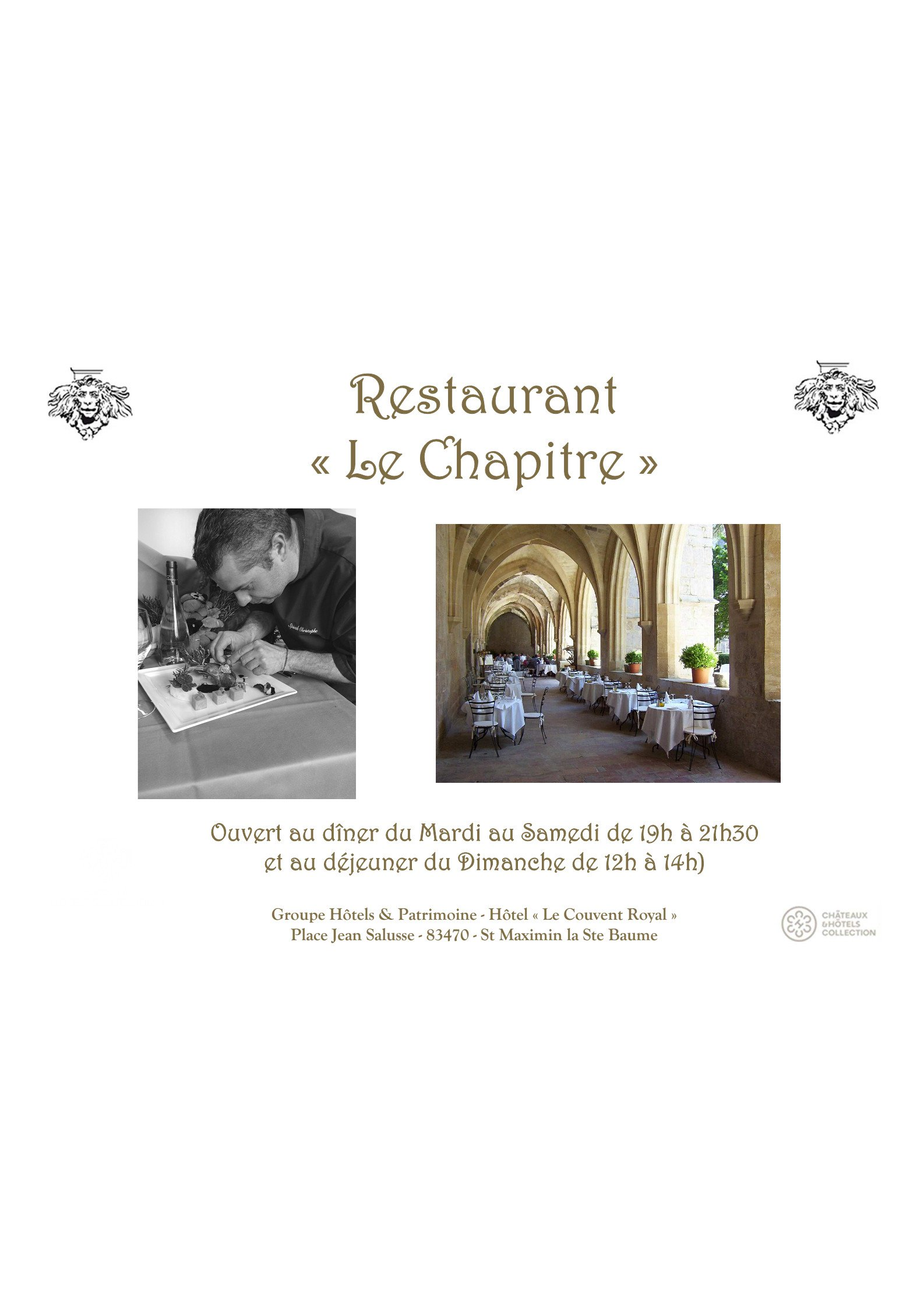 Le couvent royal saint maximin la sainte baume carte - Restaurant la table de bruno saint maximin ...