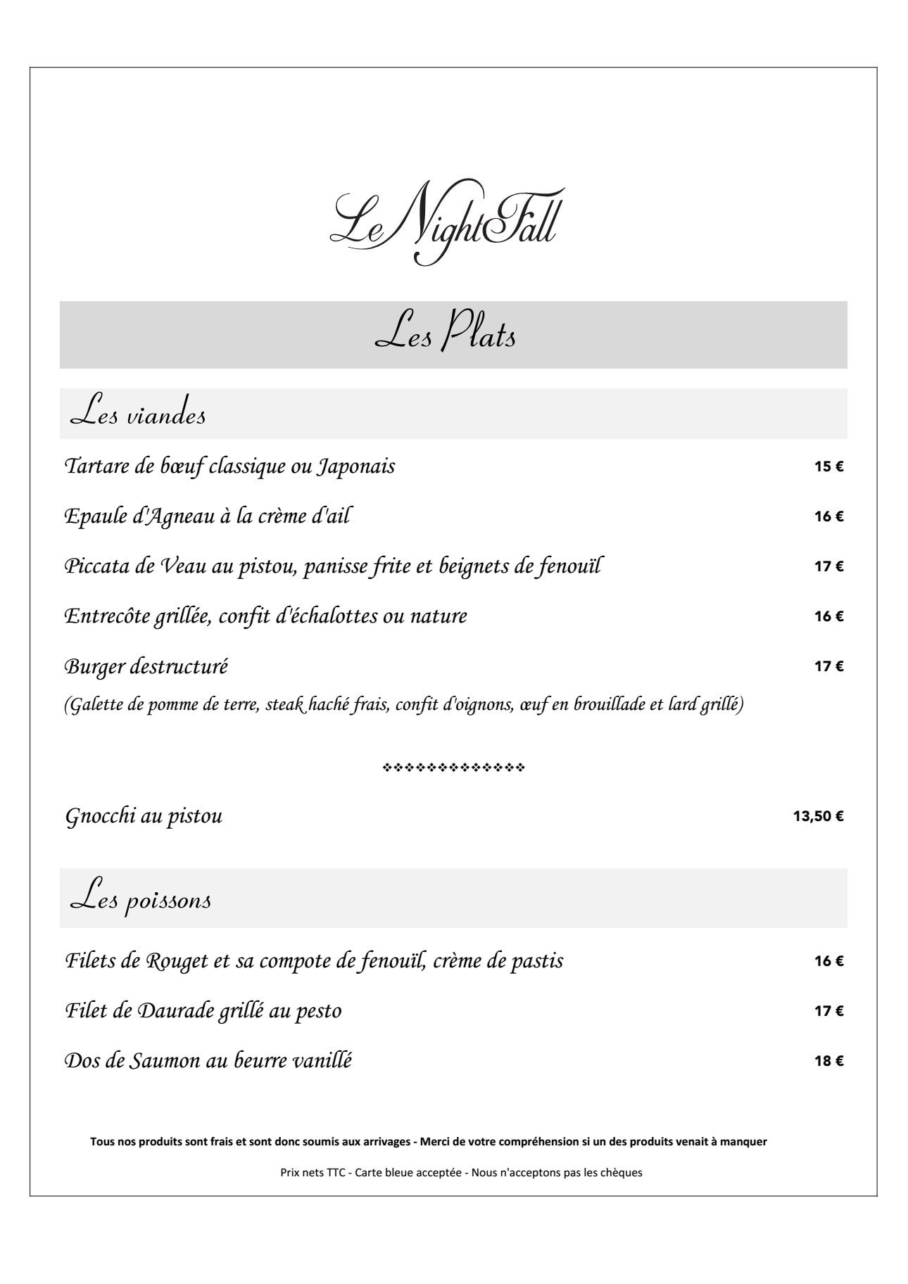 Le NightFall   Saint Maximin La Sainte Baume carte menu et photos