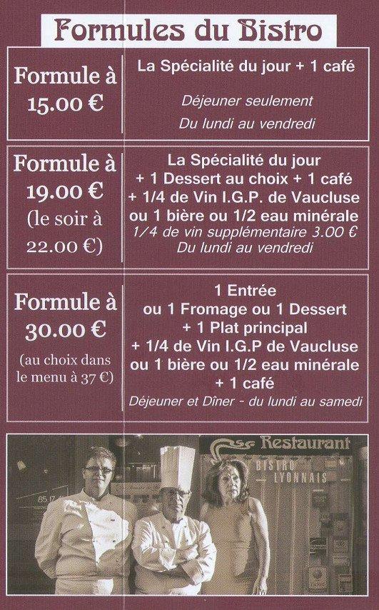 Le Bistro Lyonnais 224 Avignon Carte Menu Et Photos