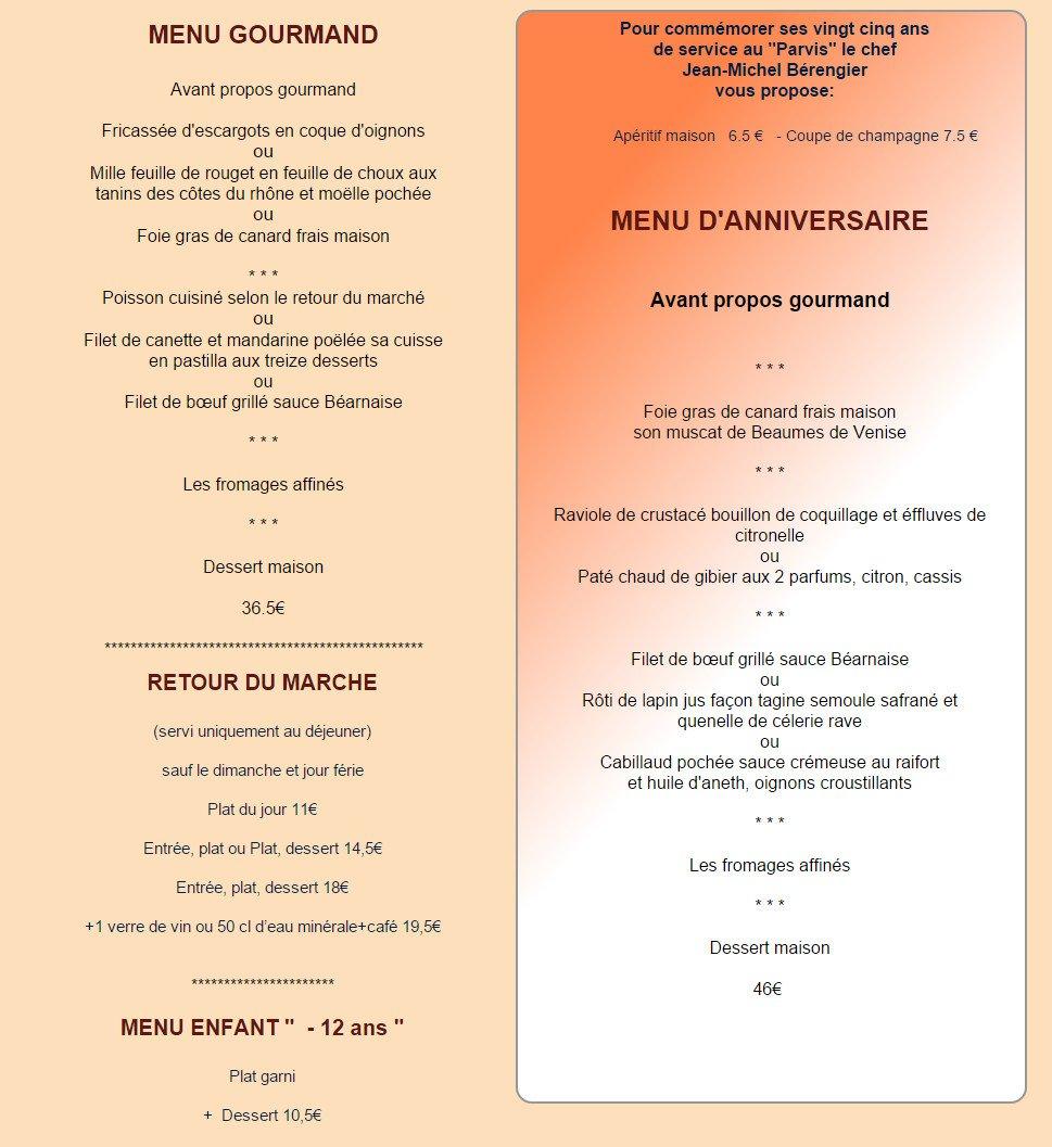 Restaurant le parvis orange carte menu et photos for Restaurant le jardin neufchatel menus