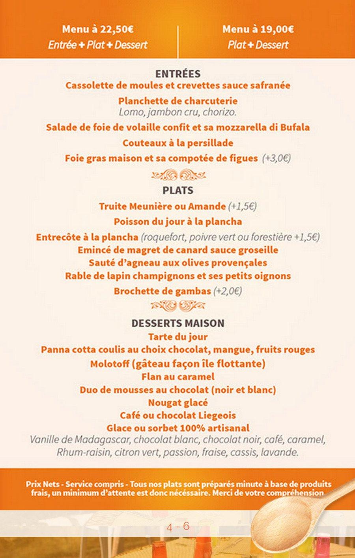 Restaurant Fontaine De Vaucluse Menu