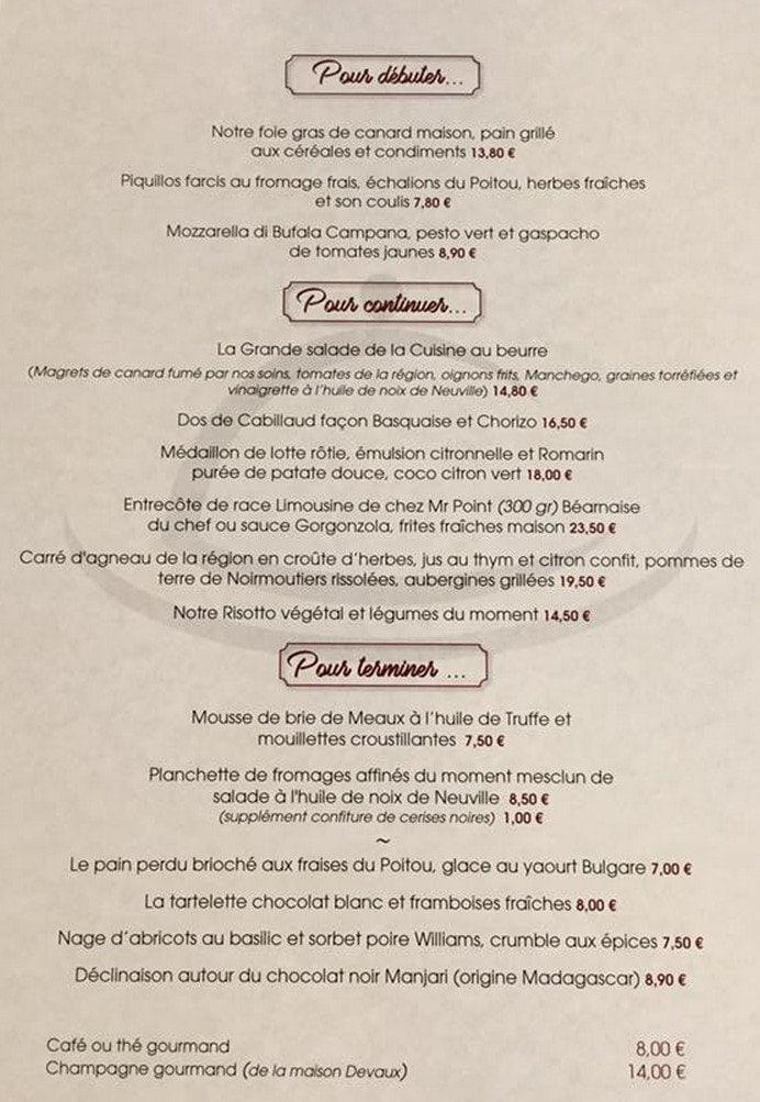 La Cuisine Au Beurre à Poitiers Cartemenu Et Photos - Cuisiner comme un chef poitiers