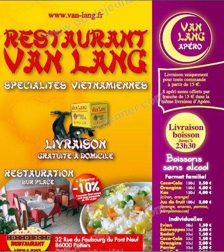 Restaurant K Poitiers Menu