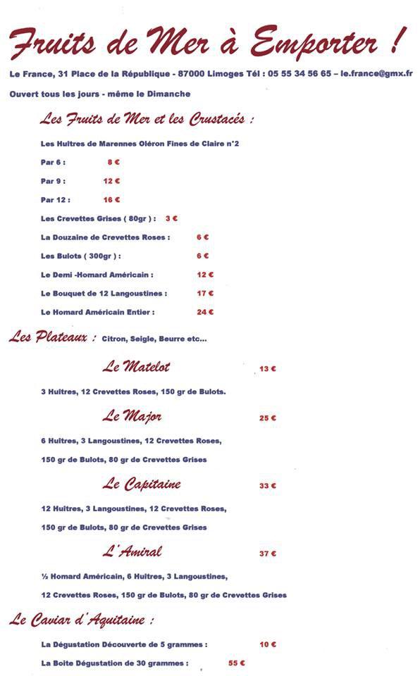 Le france limoges carte menu et photos - Brasserie lutetia menu ...