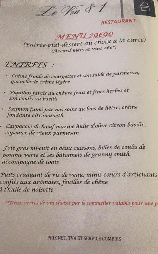 Carte Accord Met Et Vin.Le Vin 1 A Limoges Carte Menu Et Photos