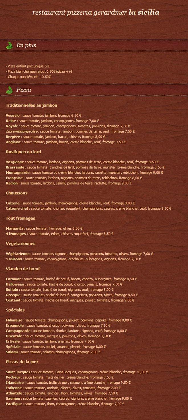 La sicilia gerardmer carte menu et photos for Le garage a pizza gerardmer