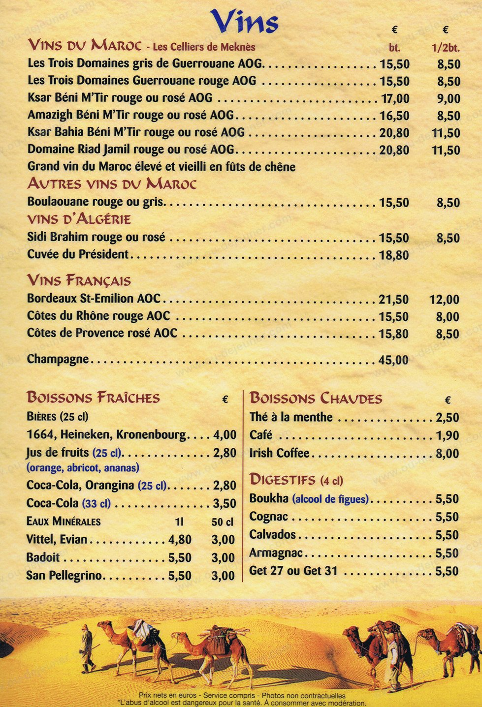 Menu Restaurant Marocain Fes