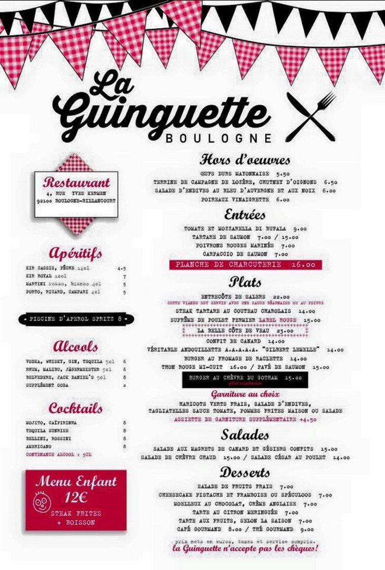 Restaurant La Campagne Menu