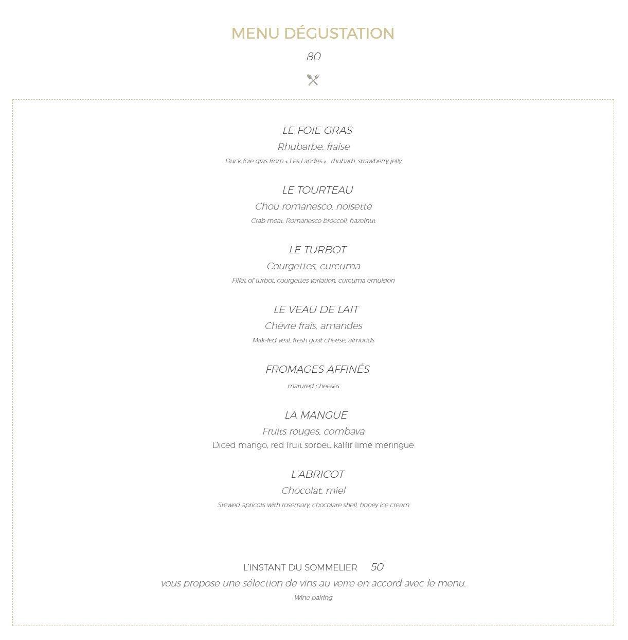 La Table D Antony Restaurant Menu