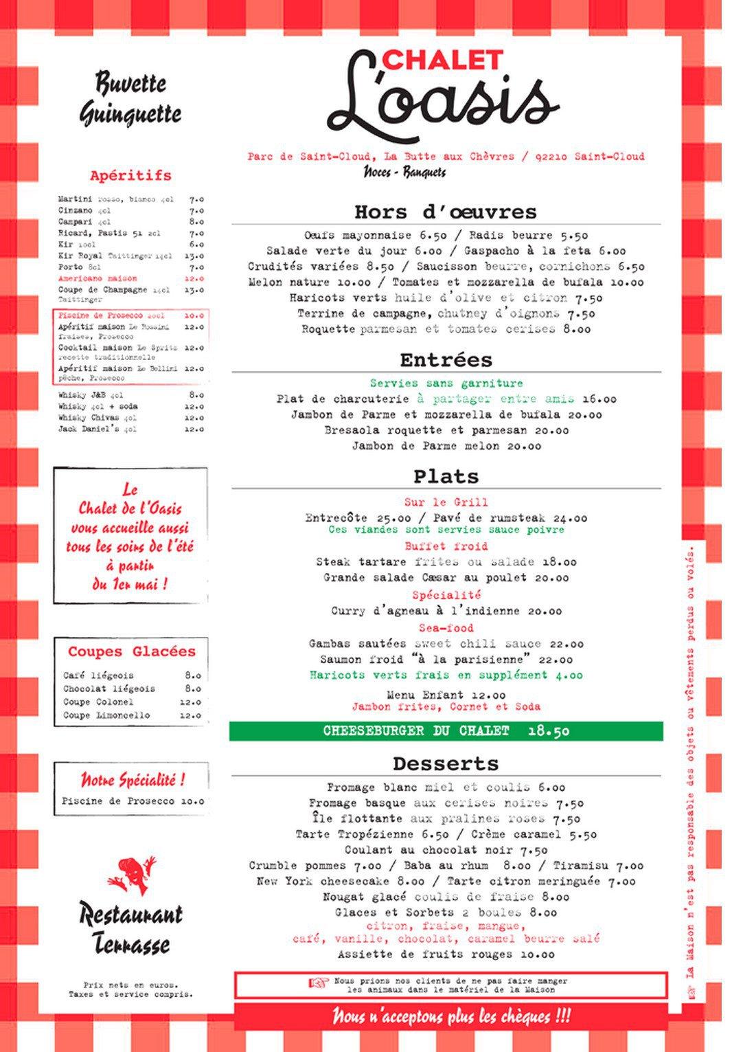 chalet de l oasis restaurant guinguette 224 cloud carte menu et photos