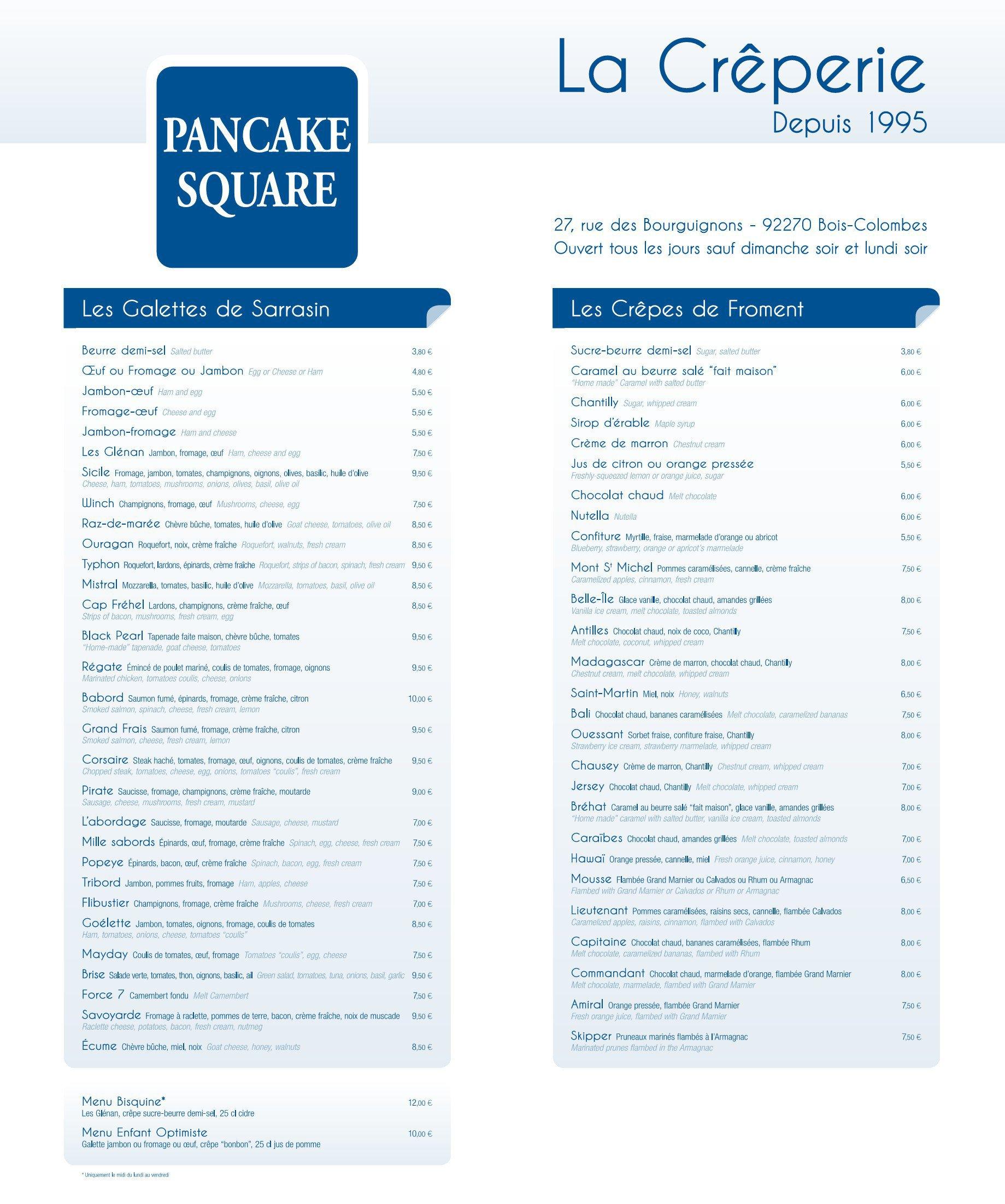Pancake Squareà Bois Colombes, carte menu et photos # Royal Bois Colombes