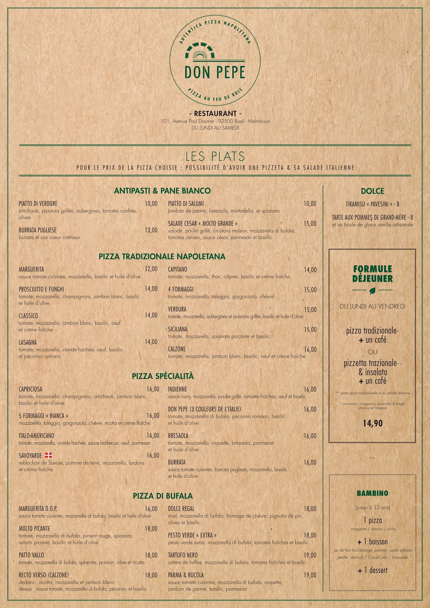 Don pepe rueil malmaison carte menu et photos for Menu ete original