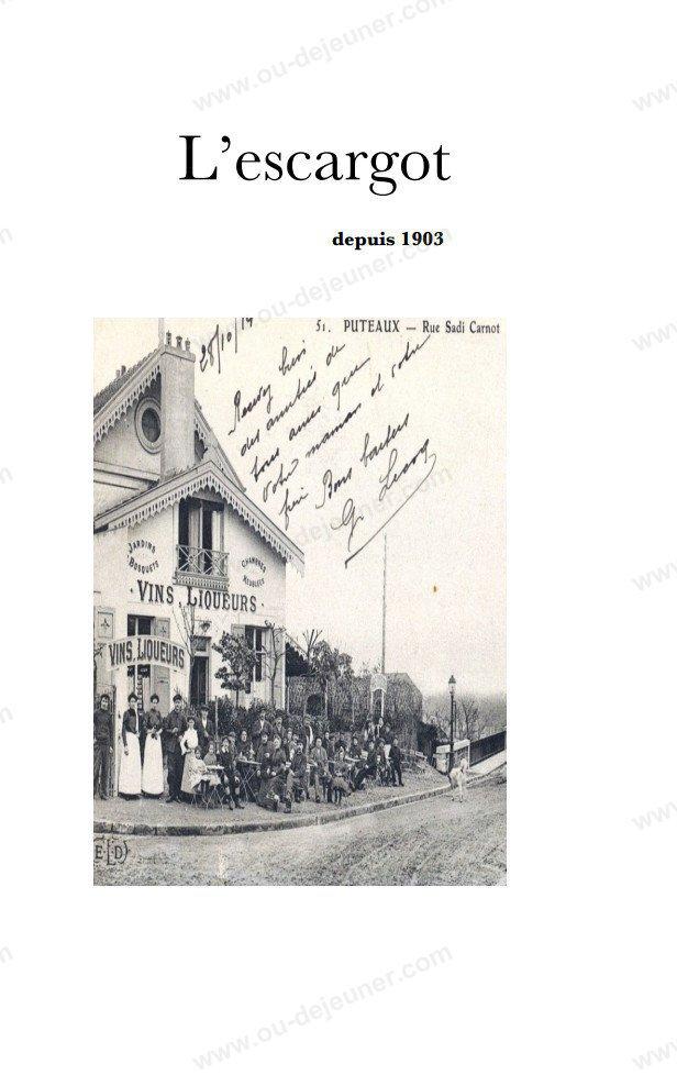 Carte Du Restaurant L Escargot  Ef Bf Bd Puteaux