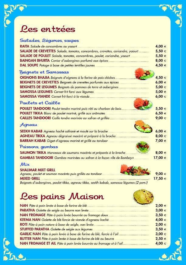 Restaurant Jowil Menu A Rosny