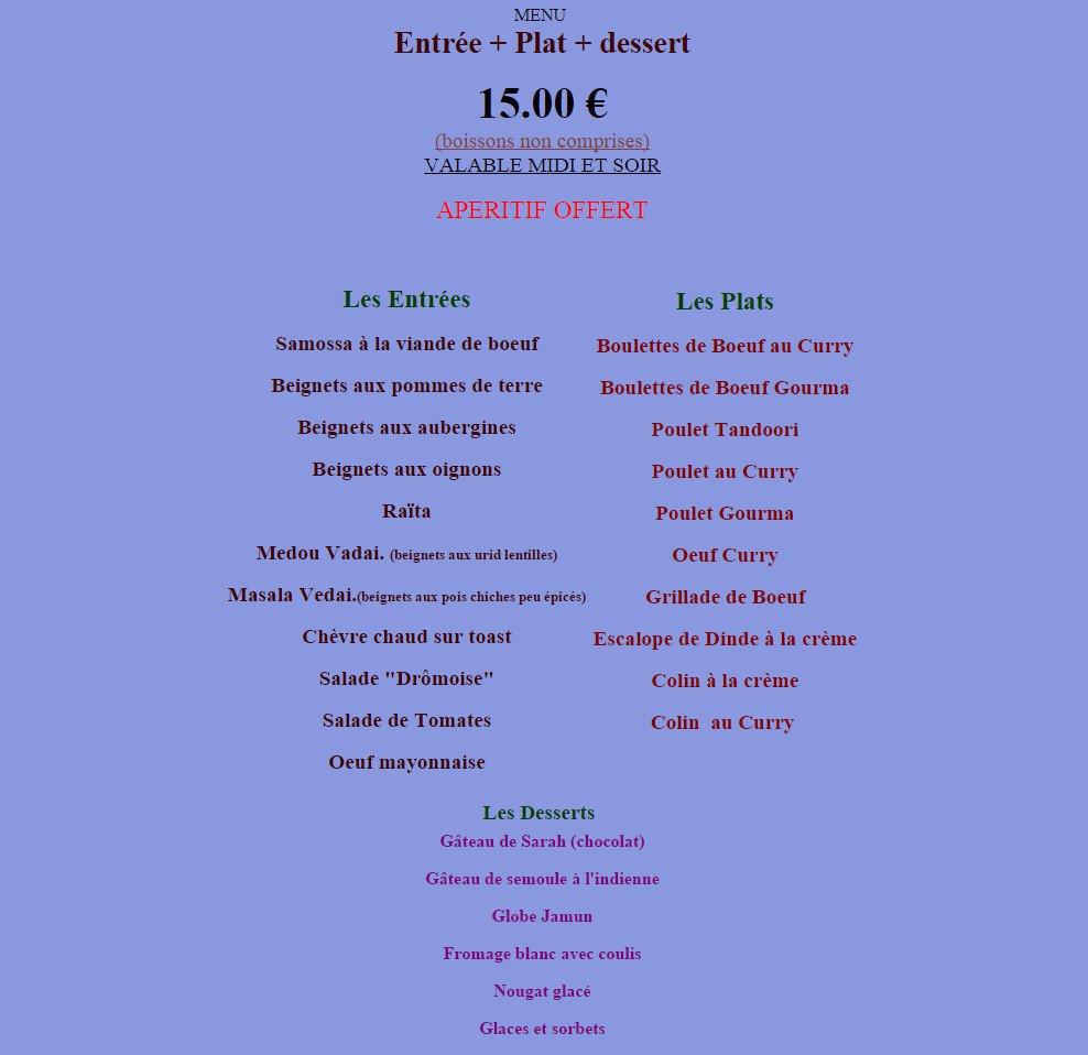 Franco indien livry gargan carte menu et photos - Livry gargan 93190 ...