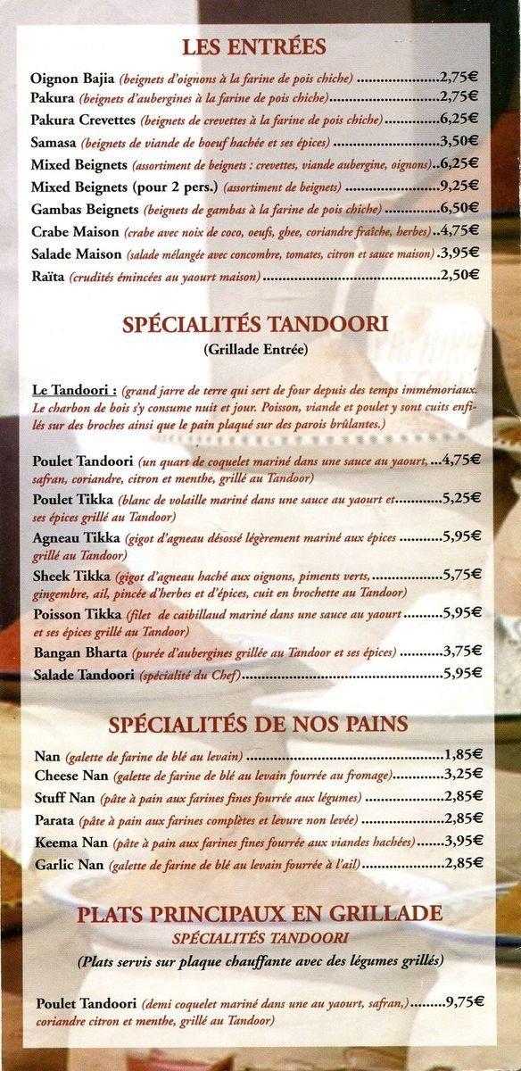 Palais de bombay livry gargan carte et menu en ligne - Livry gargan 93190 ...
