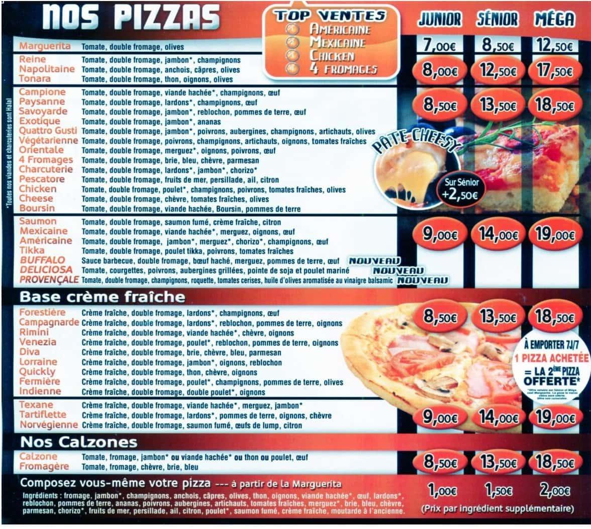 Pizza Quicklyà Villemomble, carte et menu en ligne # Pizzeria Rosny Sous Bois