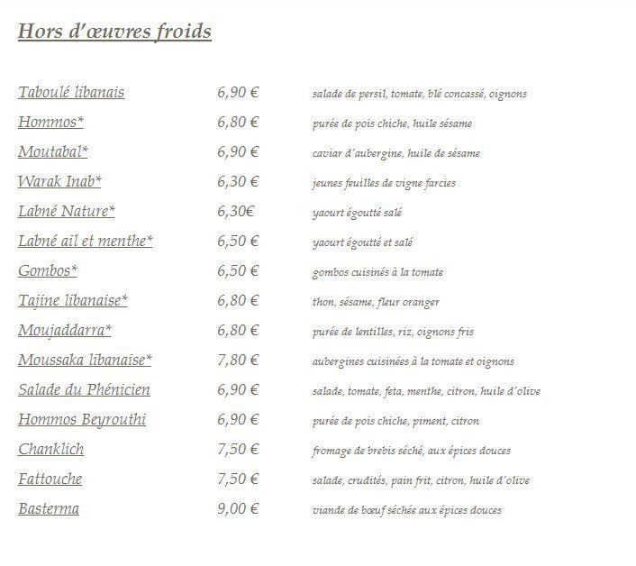 Fratellini Cafe So Ouest Carte