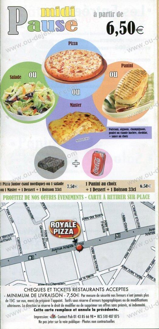 Royale Pizza à Les Pavillons Sous Bois, carte et menu en ligne